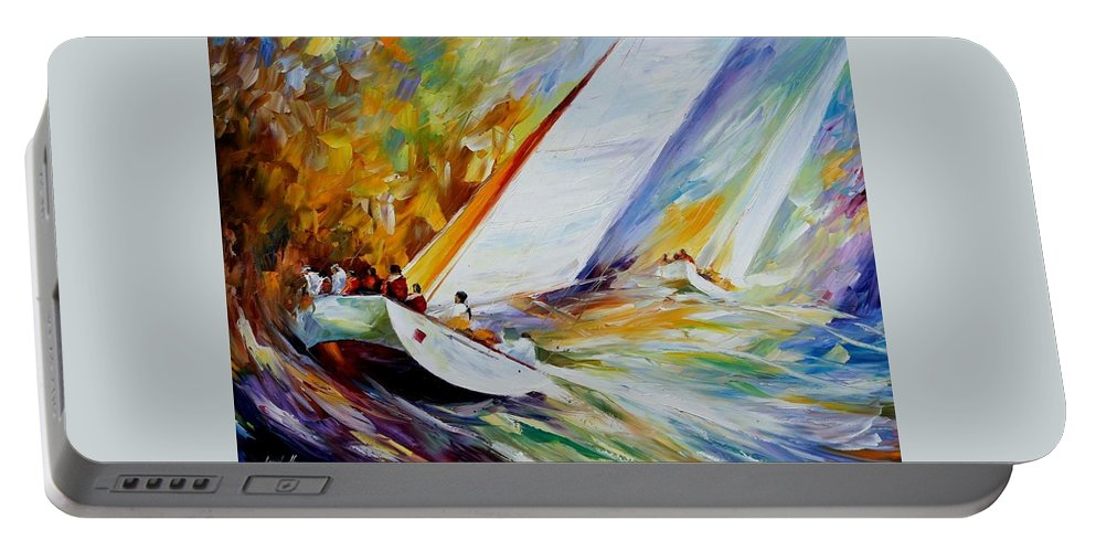Afremov Portable Battery Charger featuring the painting Regatta by Leonid Afremov