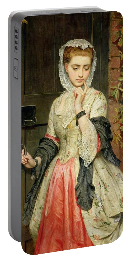 Rejected Portable Battery Charger featuring the painting Rejected Addresses by Charles Sillem Lidderdale