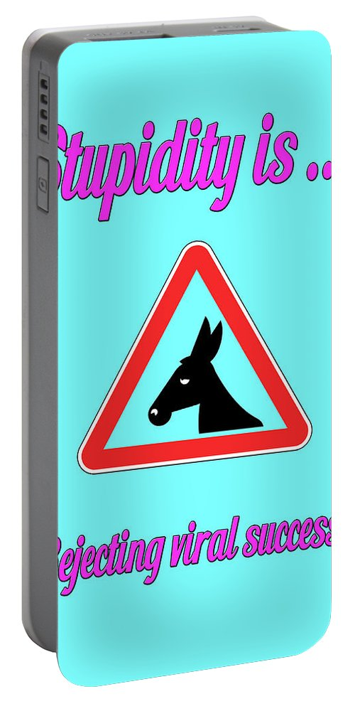 Funny Portable Battery Charger featuring the digital art Rejecting Bigstock Donkey 171252860 by Mitchell Watrous