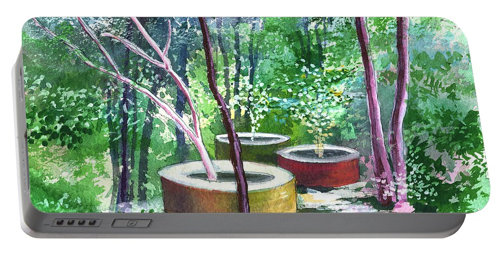 Opaque Landscape Portable Battery Charger featuring the painting Relax Here by Anil Nene