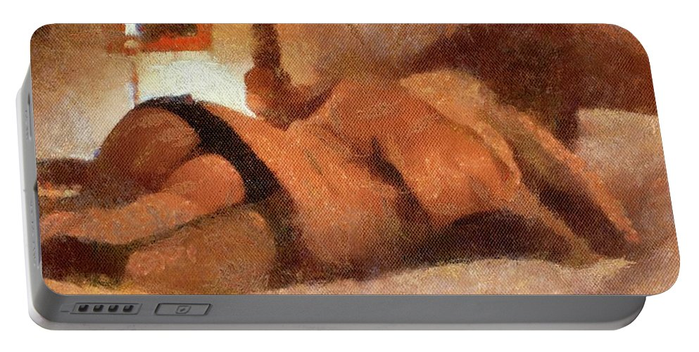 Burlesque Portable Battery Charger featuring the painting Relax With Me By Mary Bassett by Mary Bassett