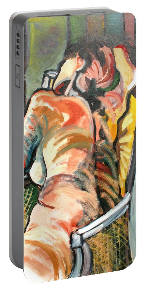 Drawing Portable Battery Charger featuring the painting Relaxation by Gideon Cohn