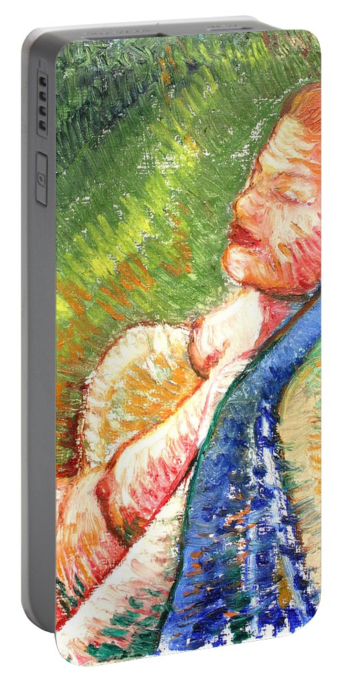 Drawing Portable Battery Charger featuring the painting Relaxation II by Gideon Cohn