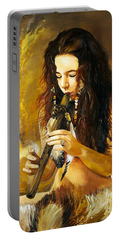 Woman Portable Battery Charger featuring the painting Release by J W Baker