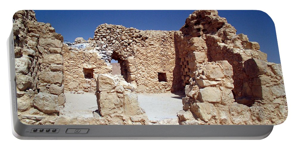 Massada Portable Battery Charger featuring the photograph Remains Of The Massada Synagogue by Avi Horovitz