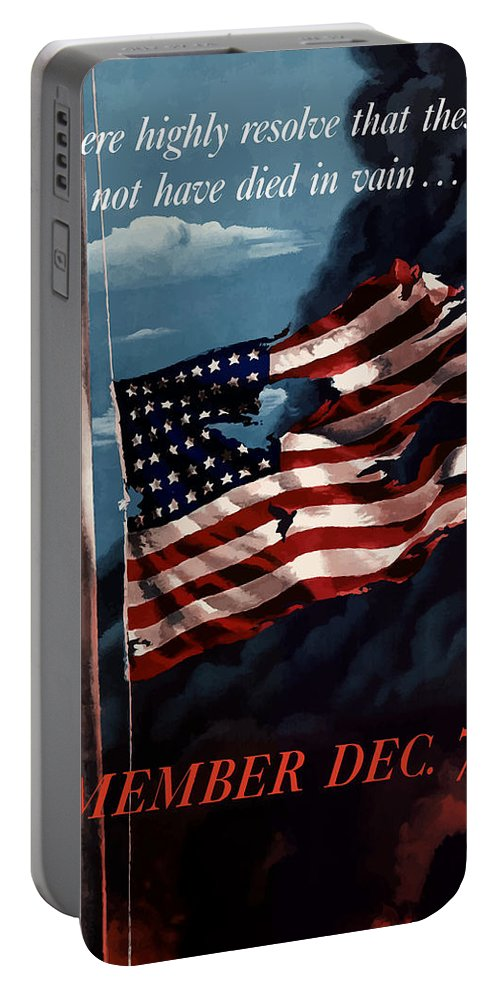 American Flag Portable Battery Charger featuring the painting Remember December Seventh by War Is Hell Store