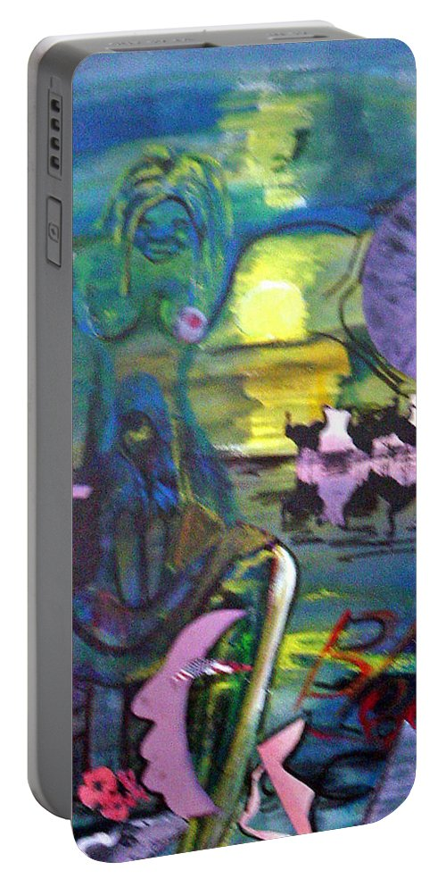Water Portable Battery Charger featuring the painting Remembering 9-11 by Peggy Blood