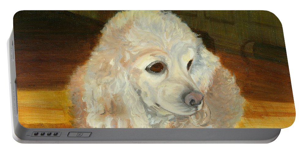 Animal Portable Battery Charger featuring the painting Remembering Morgan by Paula Emery