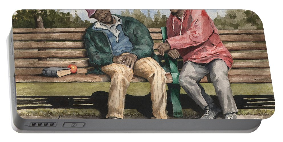 Park Portable Battery Charger featuring the painting Remembering The Good Times by Sam Sidders