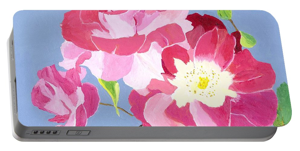 Roses Portable Battery Charger featuring the painting Remembrance by Rodney Campbell