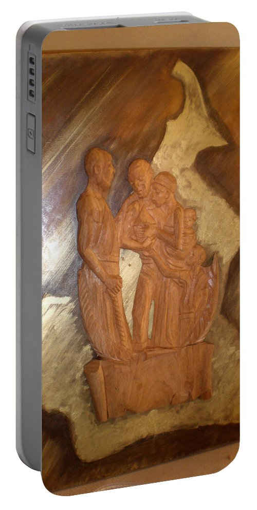 Thanks Portable Battery Charger featuring the sculpture Remerciements by Emmanuel Baliyanga