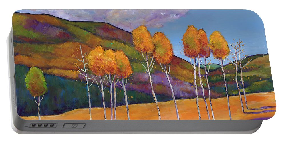 Autumn Aspen Portable Battery Charger featuring the painting Reminiscing by Johnathan Harris