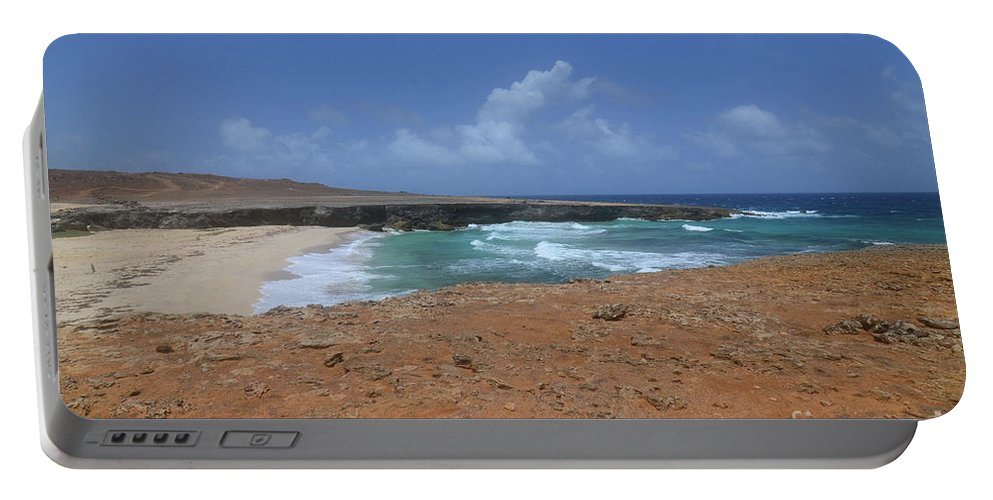 Daimari Portable Battery Charger featuring the photograph Remote Daimari Beach With Waves Rolling Ashore by DejaVu Designs