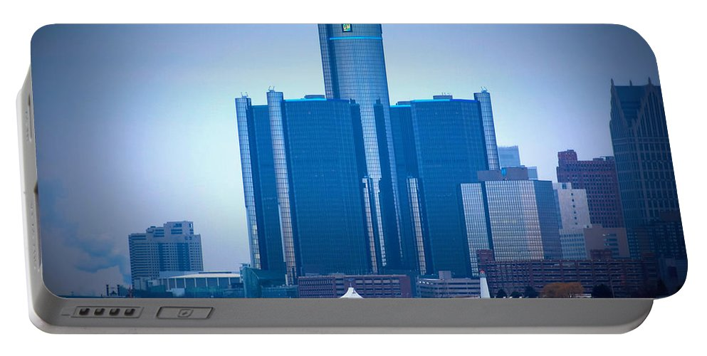 Winter Portable Battery Charger featuring the photograph Gm Renaissance Center In Downtown Detroit, Michigan by Anita Hiltz