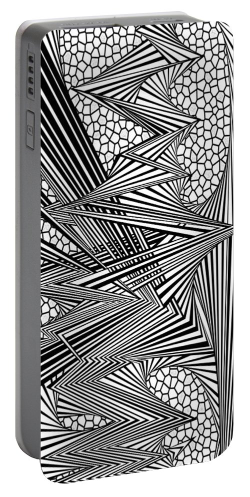 Dynamic Black And White Portable Battery Charger featuring the painting Renniwt by Douglas Christian Larsen