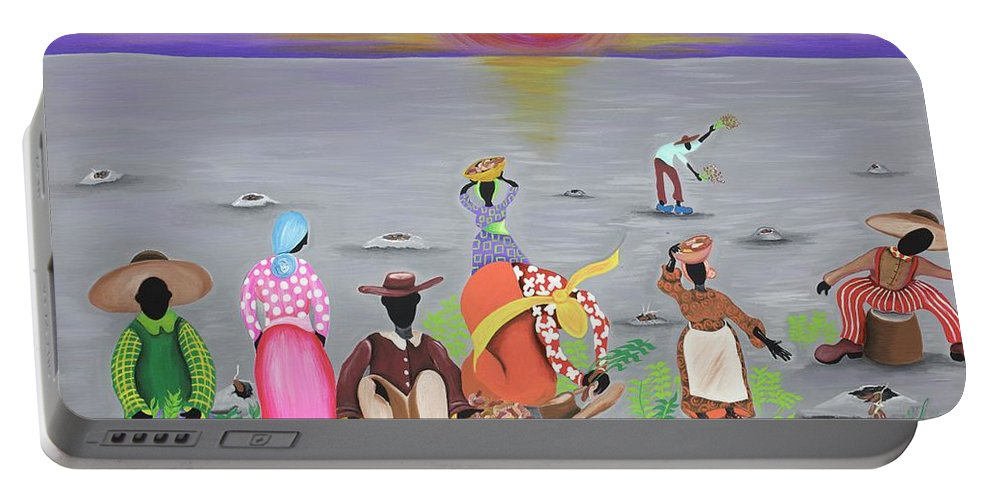 Sabree Portable Battery Charger featuring the painting Replenish by Patricia Sabree