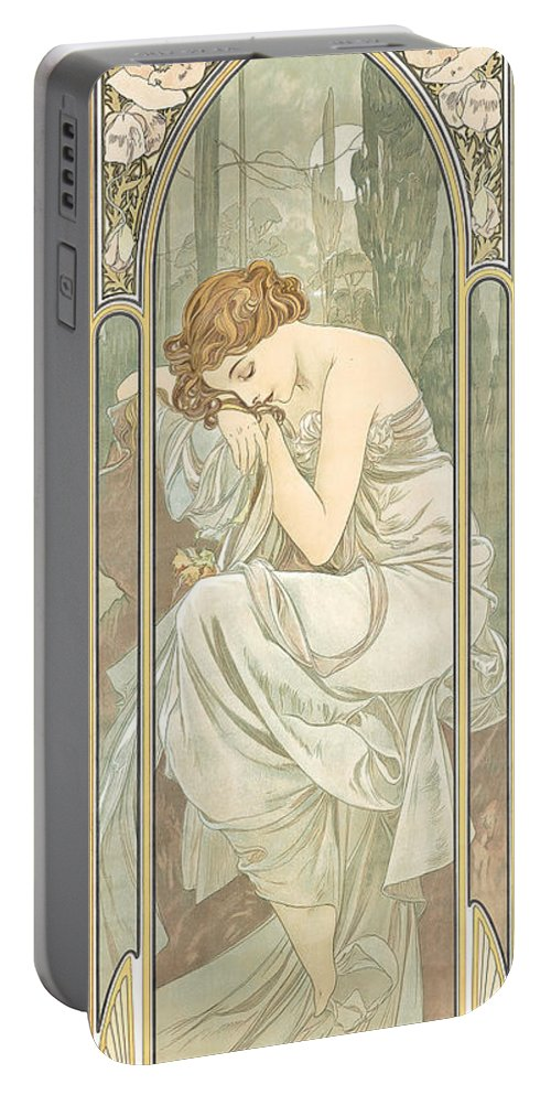 Alphonse Marie Mucha Portable Battery Charger featuring the painting Repos De La Nuit by Alphonse Marie Mucha