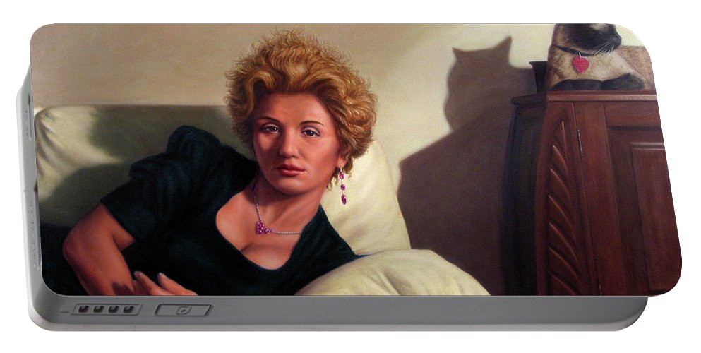 Repose Portable Battery Charger featuring the painting Repose by James W Johnson