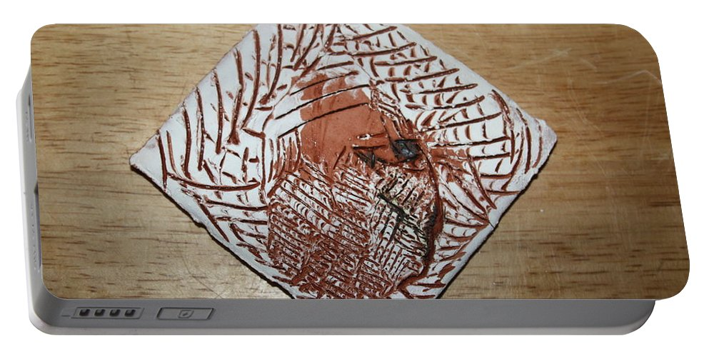 Jesus Portable Battery Charger featuring the ceramic art Repose- Tile by Gloria Ssali