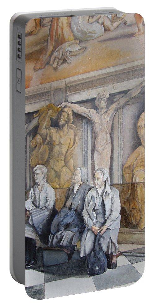 Vaticano Portable Battery Charger featuring the painting Reposo En El Vaticano by Tomas Castano
