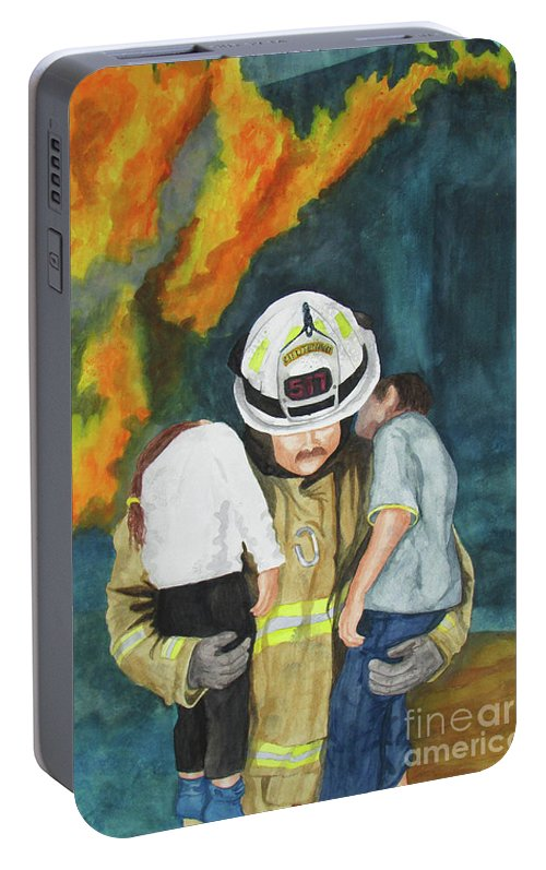Fire Portable Battery Charger featuring the painting Rescue by Sandra McClelland