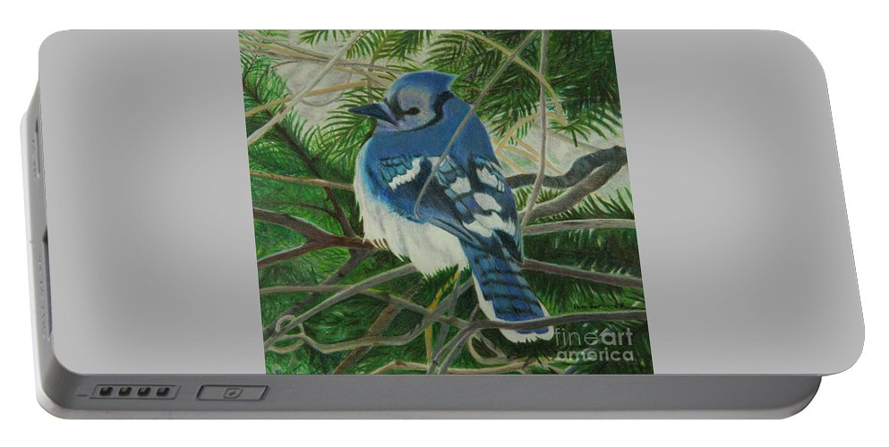 Birds Portable Battery Charger featuring the drawing Respite by Pamella Bernard