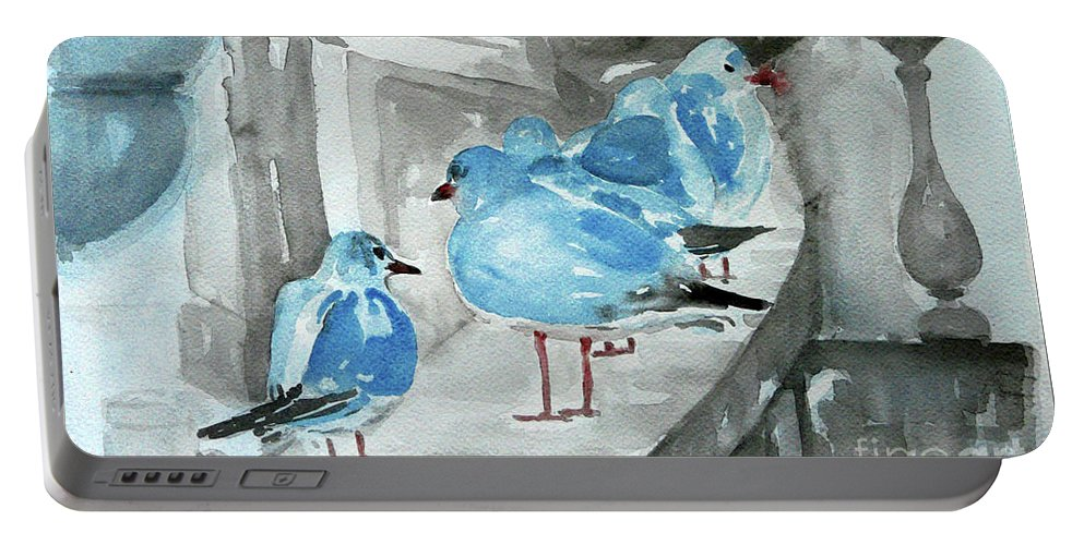 Seagulls Portable Battery Charger featuring the painting Rest By The Sea by Jasna Dragun