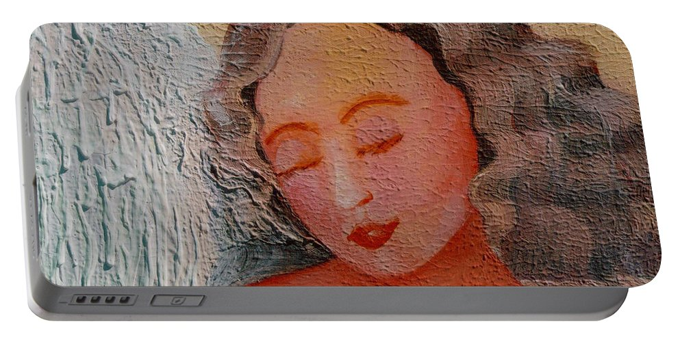 Angel Portable Battery Charger featuring the painting Rest by Catt Kyriacou