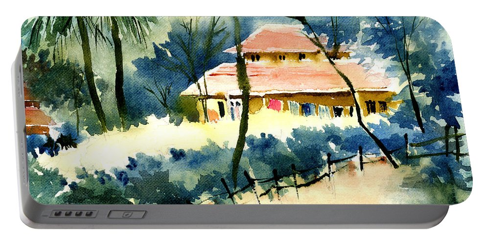 Landscape Portable Battery Charger featuring the painting Rest House by Anil Nene