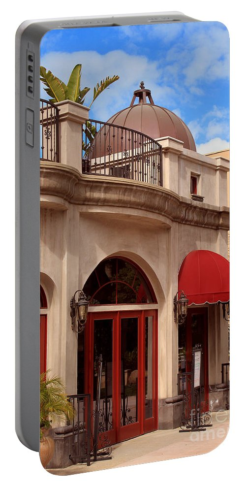 Quaint Portable Battery Charger featuring the photograph Restaurant In The Plaza by James Eddy