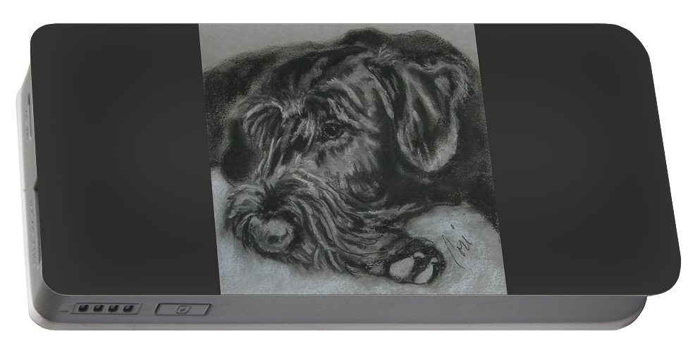 Dog Portable Battery Charger featuring the drawing Restful Thoughts by Cori Solomon