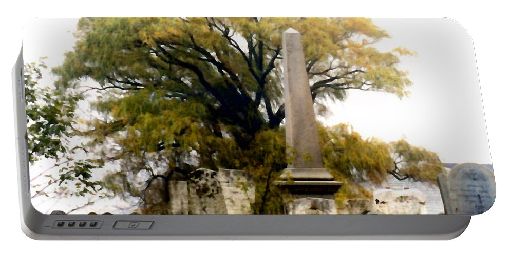 Cemetery Portable Battery Charger featuring the painting Resting In Peace by Paul Sachtleben