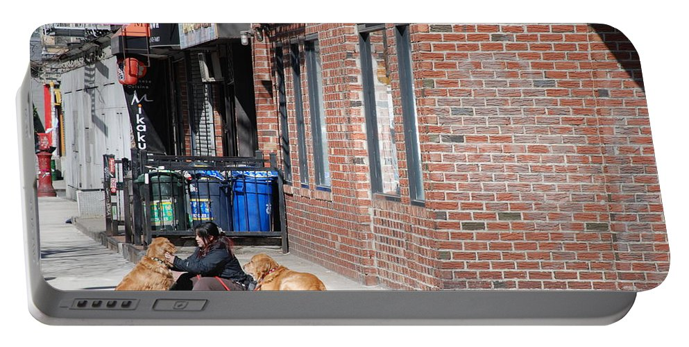 Girl Portable Battery Charger featuring the photograph Resting On The Corner by Rob Hans