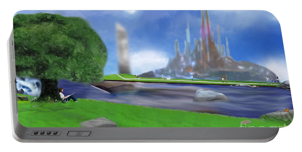 Landscape Portable Battery Charger featuring the digital art Resting Place / Legacy by Grant Fowler