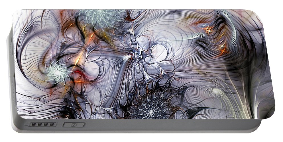 Fractal Portable Battery Charger featuring the digital art Restive by Casey Kotas
