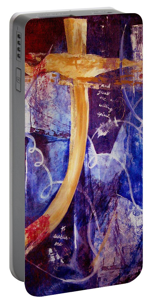 Abstract Portable Battery Charger featuring the painting Restore To Me by Ruth Palmer