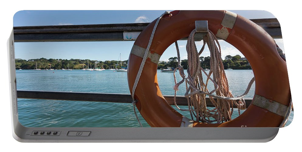 Lifebelt Portable Battery Charger featuring the photograph Restronguet Creek Life Saver by Terri Waters