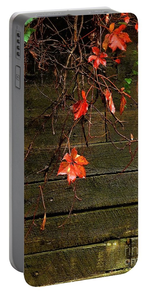 Autumn Portable Battery Charger featuring the painting Retaining Wall In Autumn by RC DeWinter