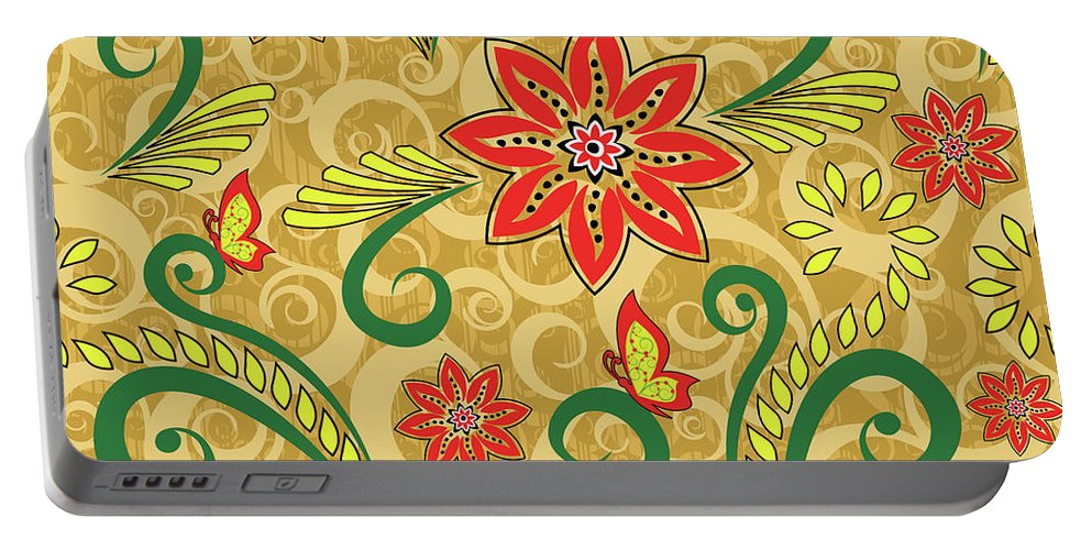 Retro Portable Battery Charger featuring the digital art Retro Floral Seamless Pattern by Long Shot