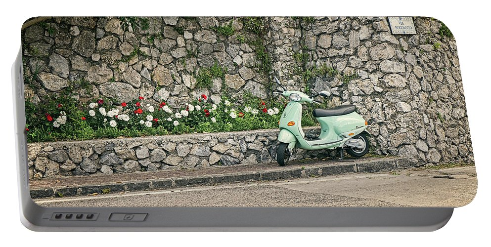 Scooter Portable Battery Charger featuring the photograph Retro Italian Scooter by Catherine Reading