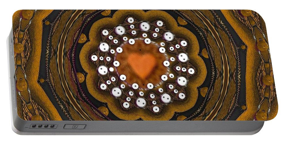 Heart Portable Battery Charger featuring the mixed media Retro Peace With Love And A Heart Of Gold by Pepita Selles