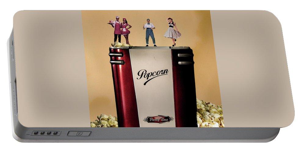 Retro Art 50s Portable Battery Charger featuring the digital art Retro Popcorn by Silvio Nocilla