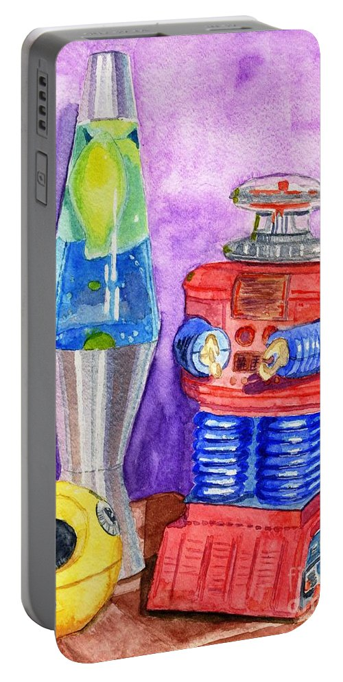 Watercolor Portable Battery Charger featuring the painting Retro Toys by Lynne Reichhart