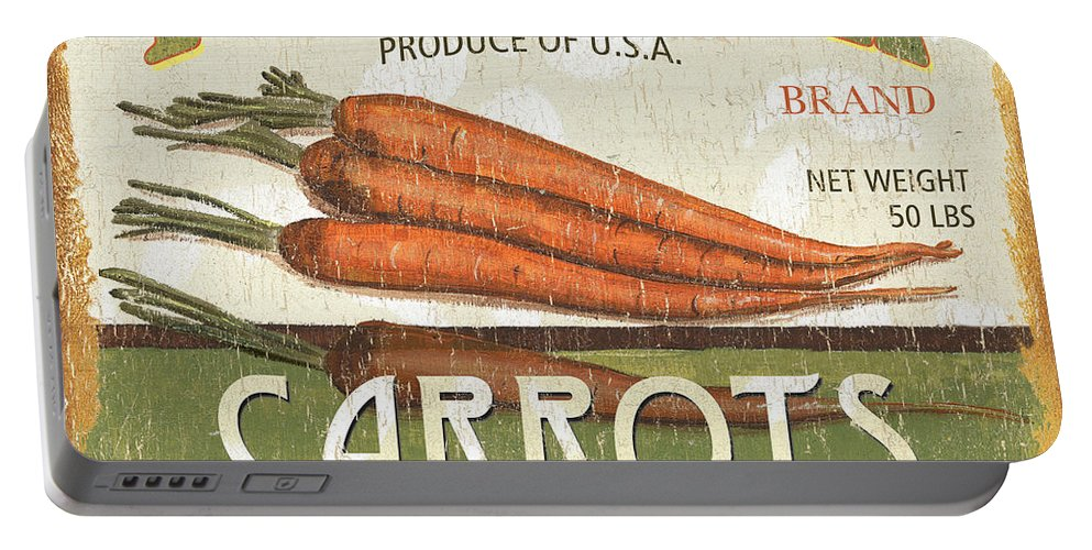 Food Portable Battery Charger featuring the painting Retro Veggie Label 2 by Debbie DeWitt