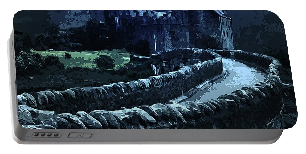 Misterious Landscape Portable Battery Charger featuring the painting Return To The Dark Tower by Andrea Mazzocchetti