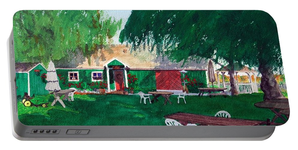 Winery Portable Battery Charger featuring the painting Retzlaff Winery by Mike Robles