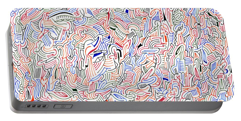 Mazes Portable Battery Charger featuring the drawing Reunification by Steven Natanson