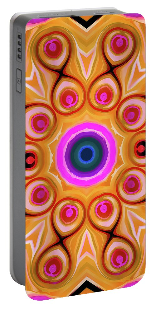 Mandala Art Portable Battery Charger featuring the painting Reunion by Jeelan Clark