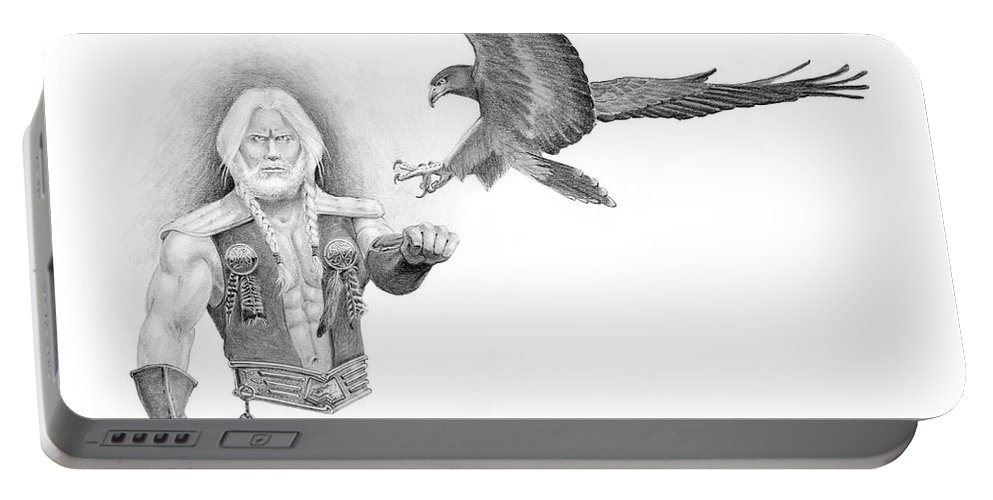 Barbarian Portable Battery Charger featuring the painting Revan Ramstedder by Melissa A Benson