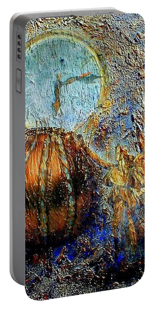 Christian Portable Battery Charger featuring the mixed media Revelation by Gail Kirtz
